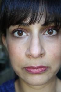 Wearing Laura Mercier lipstick in 'Rasberry Sorbet', Jouer moisture tint in 'Glow', and Illamasqua 'Liquid Metal'