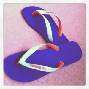 Purple, orange and light blue Havaianas